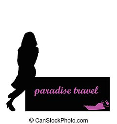 reizen, vector, meisje, scheepje, paradijs