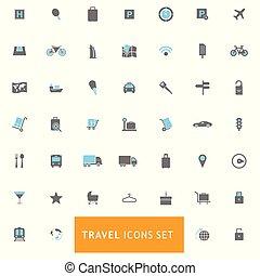 reizen, vector, set, iconen