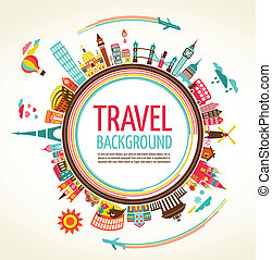 reizen, vector, toerisme, achtergrond