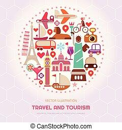 reizen, vector, toerisme, illustratie