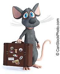 reizen, vertolking, vasthouden, suitcase., muis, spotprent, 3d