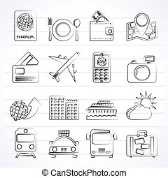 reizen, vervoer, iconen
