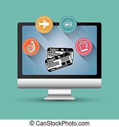 reizen, vliegtuig, computer, luchtroute, digitale , ticket