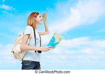 reizen, vrouw, vrolijke