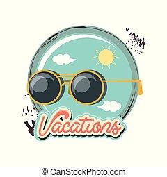 reizen, zonnebrillen, vakantie, pictogram