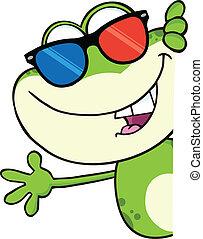 reizend, 3d, frosch, brille