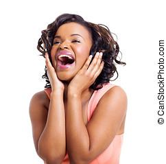 reizend, afrikanische amerikanische frau, lachender