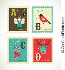 reizend, alphabet, retro, weihnachten, heiligenbilder