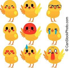 reizend, ausdrücke, küken, emoji