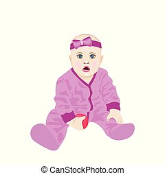 reizend, baby- junge, mit, milch, bottle., vektor, abbildung, von, a, baby- junge, besitz, milchflasche, und, weinen, mit, flasche, milk.