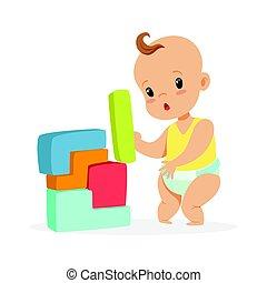 reizend, baby, stehende , und, spielende , mit, baukloetze, bunte, karikatur, zeichen, vektor, abbildung