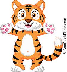 reizend, baby, tiger, karikatur