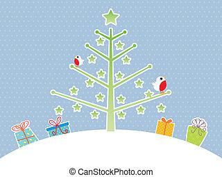 reizend, baum, weihnachten, hintergrund