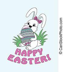 reizend, beibehaltung, dekorativ, kraut, eier, osterhase,...