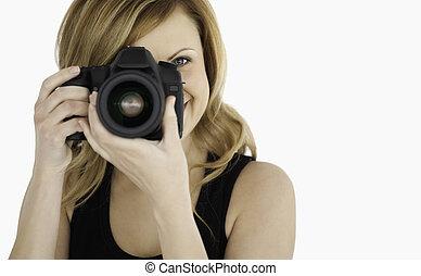 reizend, blond-haired, frau, nehmen aufnahme, mit, a, fotoapperat