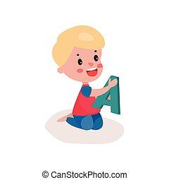 reizend, blond, kleiner junge, sitzen boden, spielende , mit, brief, kind, lernen, durch, spaß, und, spielen, bunte, karikatur, vektor, abbildung