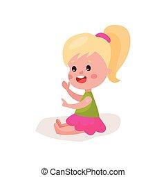 reizend, blond, kleines mädchen, sitzen boden, kind, lernen, und, spielende , bunte, karikatur, vektor, abbildung