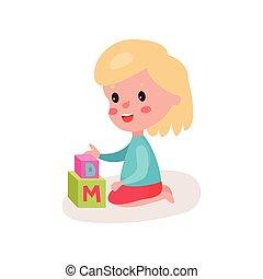 reizend, blond, kleines mädchen, sitzen boden, spielende , mit, block, spielzeuge, kind, lernen, durch, spaß, und, spielen, bunte, karikatur, vektor, abbildung