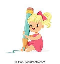 reizend, blond, kleines mädchen, sitzen boden, und, schreibende, mit, a, riesig, blaues, bleistift, karikatur, vektor, abbildung