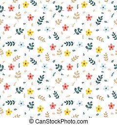 reizend, blumen-, seamless, muster, mit, blätter, und, flowers., fruehjahr, hintergrund., elegant, schablone, für, mode, drucke