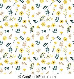 reizend, blumen-, seamless, muster, mit, blätter, und, flowers., fruehjahr, hintergrund, für, dein, design., elegant, schablone, für, mode, drucke