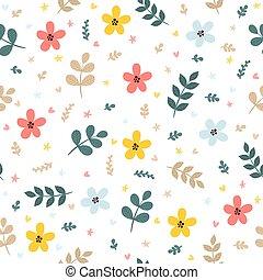 reizend, blumen-, seamless, muster, mit, blätter, zweige, und, flowers., fruehjahr, hintergrund., elegant, schablone, für, mode, drucke