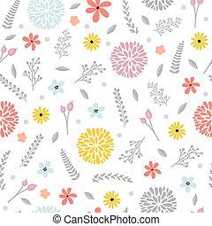 reizend, blumen-, seamless, muster, mit, flowers., fruehjahr, hintergrund., elegant, schablone, für, mode, drucke
