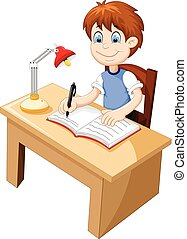 reizend, buero, studieren, karikatur, junge