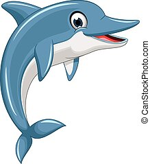reizend, delfin, karikatur