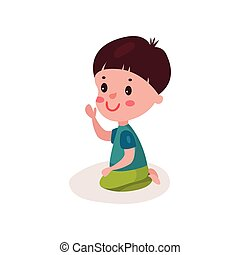 reizend, dunkel behaart, kleiner junge, sitzen boden, kind, lernen, und, spielende , bunte, karikatur, vektor, abbildung