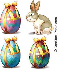 reizend, eier, drei, bunte, kaninchen