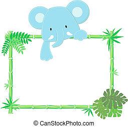 reizend, elefantenkind, rahmen