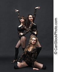 reizend, energisch, tanz, mädels, kostüme, posierend