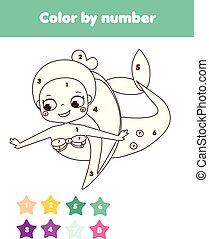 reizend, erzieherisch, färbung, farbe, game., mermaid., kinder, printable, zahlen, aktivität, seite