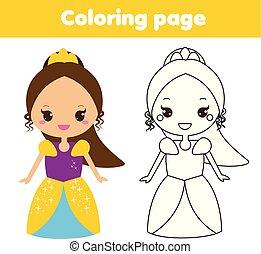 reizend, erzieherisch, färbung, spiel, princess., seite