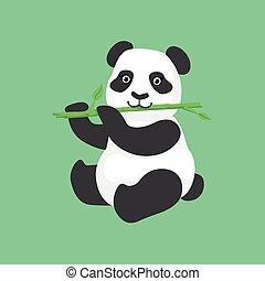 reizend, essende, zeichen, abbildung, bambus, panda