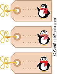 reizend, etikette, ), (, freigestellt, retro, weißes weihnachten, pinguin