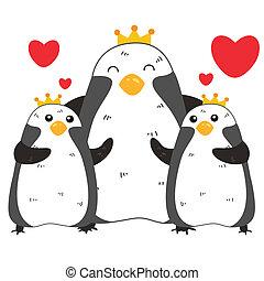 reizend, familie, pinguin
