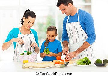 reizend, familie, vorbereiten nahrung, hause