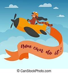 reizend, fliegt, junge, eben, freigestellt, gelber , luft, adventure., vektor, abbildung, sky., karikatur, pilot