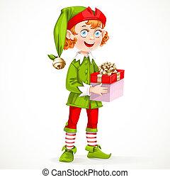 reizend, geschenk, assistent, weihnachtshelfer, freigestellt, santa, jahres, hintergrund, neu , weißes, halten