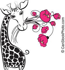 reizend, giraffe, mit, blumenstrauß