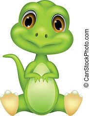 reizend, grün, dinosaurierer, karikatur
