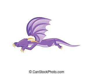 reizend, ground., mythisch, wohnung, lila, tail., langer, eingeschlafen, vektor, design, groß, feuerdrachen, hörner, flügeln, monster