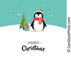 reizend, -, gruß, frohe weihnacht, karte, pinguin
