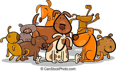 reizend, gruppe, hunden, karikatur