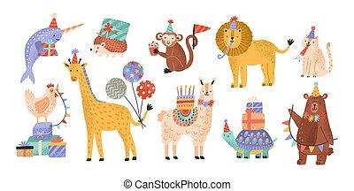 reizend, hüte, feiern, geschenke, partei., lustiges, kindisch, karikatur, amüsant, besitz, balloons., bezaubernd, wohnung, sammlung, geburstag, bündel, charaktere, kuchen, tiere, illustration., vektor, wild, kegel