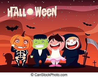 reizend, halloween, kinder, plakat