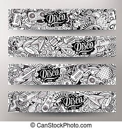 reizend, hand, sketchy, vektor, musik, gezeichnet, doodles, banner, disko, horizontal, karikatur