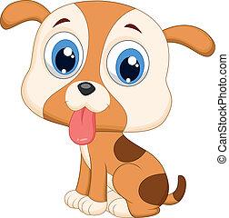 reizend, hund, karikatur